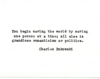 Charles Bukowski Hand typed vintage typewriter quote