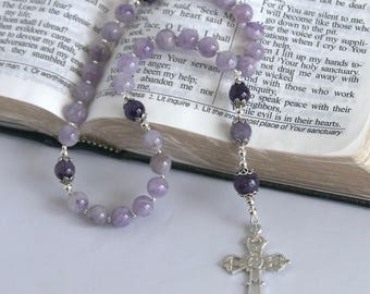 Anglican/Protestant Prayer Beads; Amethyst and Sterling