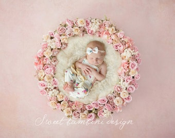 Newborn Digital Backdrops x 4 versions Vintage Rose Basket/Nest