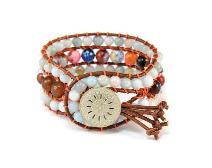Boho Little  Gitana * Amazonite & Agate. 3 strand Wrap Bracelet. Boho Style. Bohemian Jewelry. Gift for her. Cuff Bracelet.