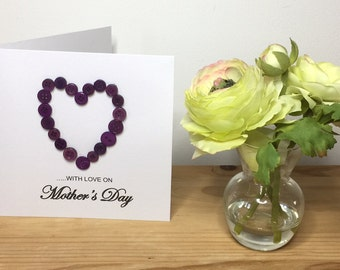 Handmade Mothers Day card, Mothering Sunday, Button heart card