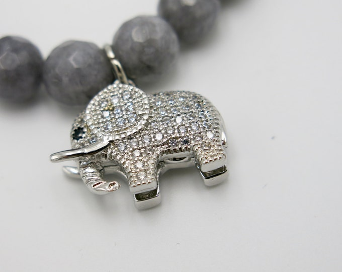 Crystal charm Elephant 8mm Beaded Gray Jade Bracelet Jewelry.