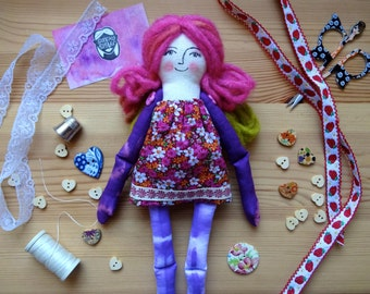 Tie-dye rag doll / art doll / Valentine's gifts for her / young girl / shibori floral purple yarn cotton ribbon /{'Amelie' by Sunray Sister}