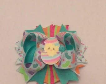 Easter bow, Mini Ott hair bow, glitter Easter bow, Jelly bean hair bow