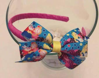 Alice in Wonderland inspired headband, Alice in Wonderland hair bow, Disney inspired hair bow