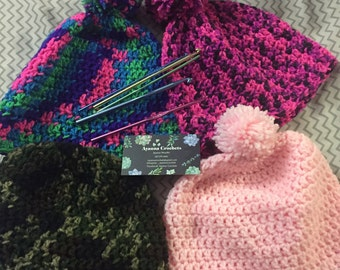 Crochet Hats with Poms