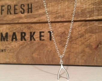 Sterling Silver Wishbone Necklace, Birthday Gift, Wedding Jewellery, Bridesmaid Favour
