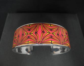 """KLIMT"" silver and Red Cuff Bracelet"