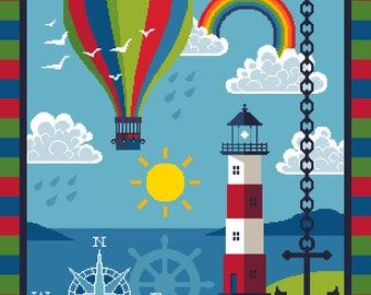 The Lighthouse and Hot Air Balloon - Children's maritime frieze - Vivienne Powers