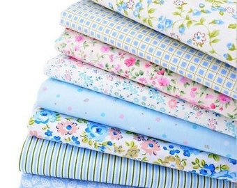 8 coupons fabric patchwork Cotton sewing 40 x 50 cm Blue 240217 tones