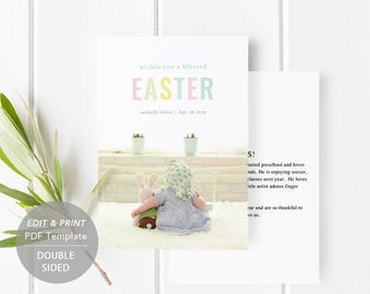 Easter Card Template, Easter Photo Card, Printable Easter Card, Spring Greetings, Easter Invitation, Editable PDF Instant Download #SPP318ea