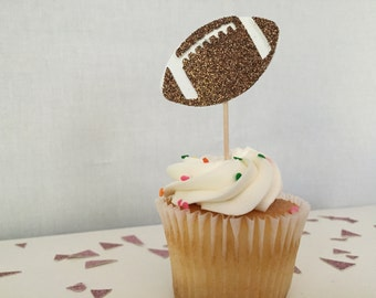 Pack of 24,football cupcake topper, superbowl, football party, game night, party decor, cupcake toppers, Boy birthday, baby boy, baby shower