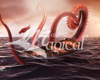 Kraken Background | Giant Octopus Background | Octopus Attack | Ocean | Boat | Photoshop | Octopus Backdrop | Kraken Backdrop | Instant DL