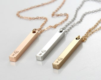 Vertical Name Initials Necklace -Bridesmaid Necklace- Gold Plated- Gold bar Pendant -Rose Gold - Initials charm - Gift for her -Personalized