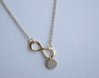 Gold Infinitynecklace, Initial necklace,personalized gold necklace, bridesmaid gift, gift necklace, mom gift, christmas gift