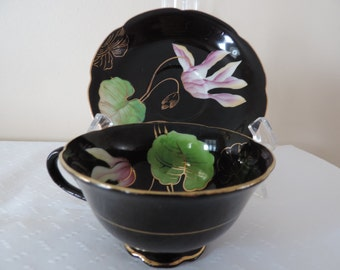 English-Princess Cup-Saucer-porcelain China - painted hand-Lily-black new price...