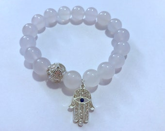 White Agate Stretch Bracelet with Hamsa Charm