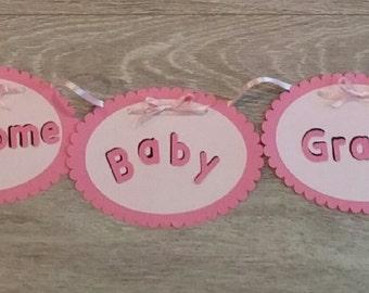 Pink Flamingo baby banner