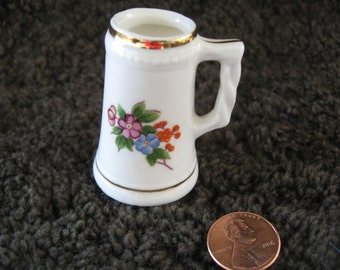 Miniature  bone  china   stein mug vase   white floral foil label    our own import   JAPAN  free shipping in the u s a