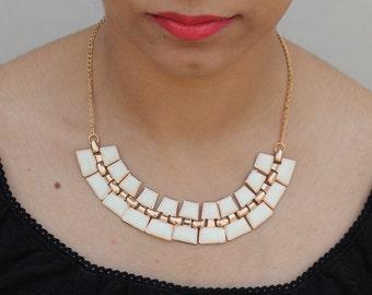 White fringe resin Indian Necklace, Bib Statement Necklace, Choker Necklace, Goth Necklace, Collar Necklace, Boho Tribal, Christmas Gift