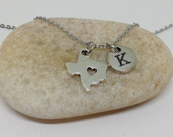 Texas Map Necklace, Texas Necklace, Texas Jewelry, Personalized Necklace, Initial Necklace, Love Texas