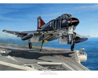 Aviation art print. F-4 Phantom. Limited edition signed by artist. Ark Royal. Airplane art. Present for him. Spitfire. Giclee.
