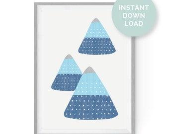 Geo Mountain Range Digital Print, Instant Download, Digital Download, Blue, Gray, Printable Art, Poster, Wall Art, Home Decor, Mountain