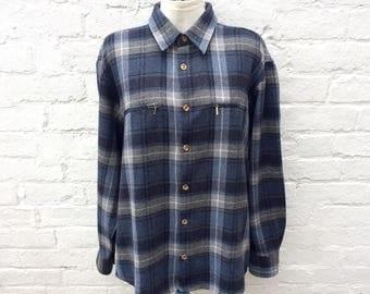 Wool plaid shirt, oversized grunge top, 90's fashion