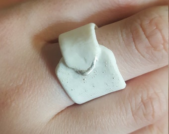 porcelain and silver ring