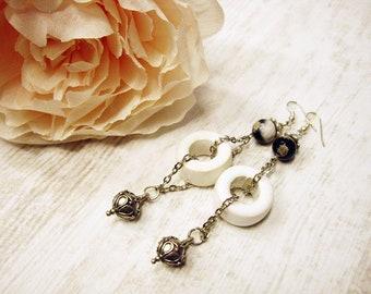 Statement Earrings Ceramic Earrings Dangle Metal Earrings Long White Earrings Boho metal Earrings Stylish earrings Bohemian Earrings