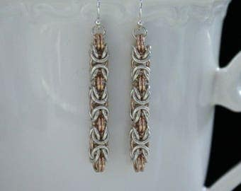 Chainmaille Earrings, Rose Gold, Sterling Silver, Byzantine Weave, Chainmaille Jewelry, Sterling Silver Earrings