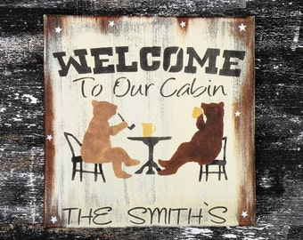 Welcome To Our Cabin Rustic Personalized Sign, Distressed Mountain Lodge Wall Decor, Pine Wood Cabin Welcome Sign, Lake Cabin Custom Sign