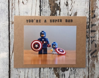 """Lego Father's Day Card/Lego Birthday Card - Super Dads Series 4.25"""" x 5.5"""" - Handmade Greeting Card with Envelope"""