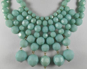 Light Blue Womens Faceted Bead Necklace