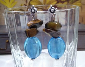 Italian glass and Tiger eye chips beads earrings