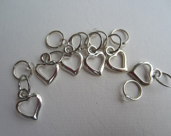 12 Silver Heart Ring Stitch Markers with Silver Seed Bead / Knitting / Snagless Round Metal