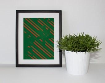 Green & Orange designed flowers print