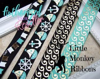 Nautical Ribbon, All at sea, USDR, grosgrain ribbon, 7/8 grosgrain ribbon