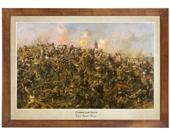 Custer's Last Stand, Edgar Samuel Paxson 1899; 24x36 inch print reproduced from a vintage painting