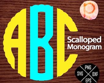 Scalloped Circle Monogram SVG Font Letters Alphabet*Monogram svg,clipart,eps,dxf,png,jpg*Cutting File*Cricut*Silhouette Studio*Sure Cut