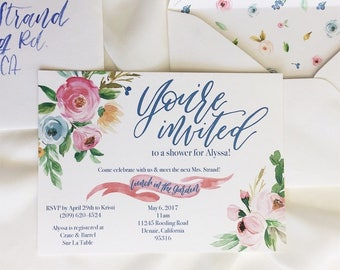 Watercolor Floral Shower Invitation // Bridal Shower Invitation // Baby Shower Invitation // Custom Shower Invitation // Digital Invitation