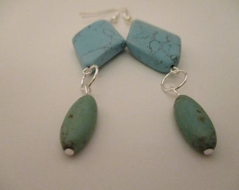 River Stones and Magnesite  Earrings