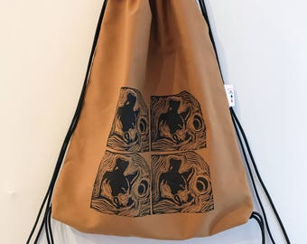 Hand block printed designer cotton drawstring backpack; 4 dogs drawstring backpack
