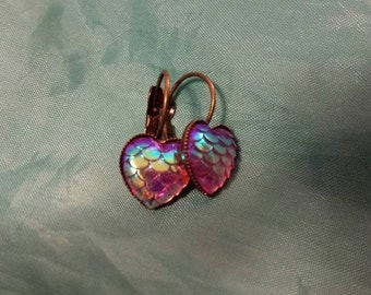 Mermaid earrings fish scales in heart