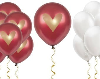 """Burgundy White Gold Heart Balloons Love 12"""" Latex Wedding Proposal Bridal Shower Party Bachelorette Anniversary Party Maroon Dark Red"""