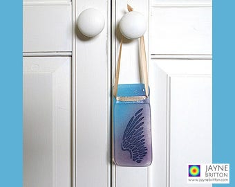 Angel wing light catcher, blue and violet, window art, fused glass suncatcher, angel ornament, Archangel Michael gift, Archangel Zadkiel