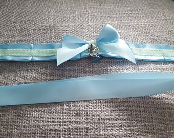 Blue and Mint kittenplay Petplay Pleated Collar