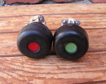 Set of 2 vintage industrial electric buttons, Vintage electrical switch, Start-stop push button, On-off electrical switch