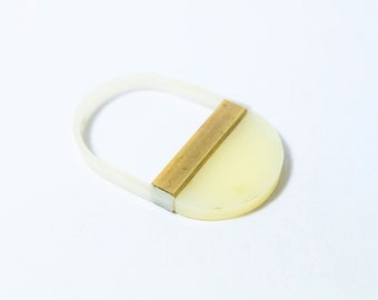 Minimal Delicate Acrylic and Brass Statement Ring