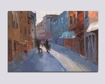 Original Oil Painting Croatia Rovinj Cityscape Palette Knife Painting Wall Art Decor Anniversary Gift Holiday Street Painting Art Gift